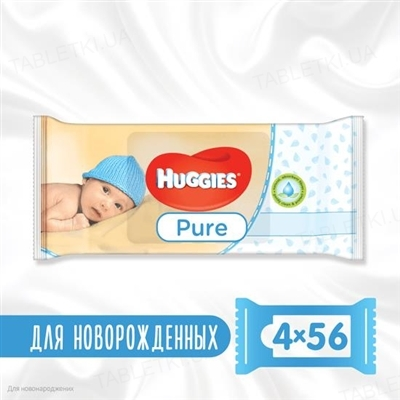 Детские влажные салфетки Huggies Pure, 224 штук
