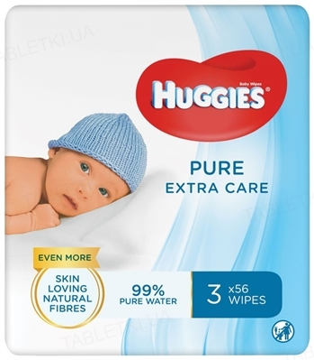 Детские влажные салфетки Huggies Pure Extra Care, 3 х 56 штук