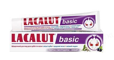 Зубная паста Lacalut Basic, Черная смородина и имбирь, 75 мл