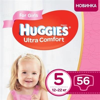 Подгузники детские Huggies Ultra Comfort для девочек размер 5, 12-22 кг, 56 штук