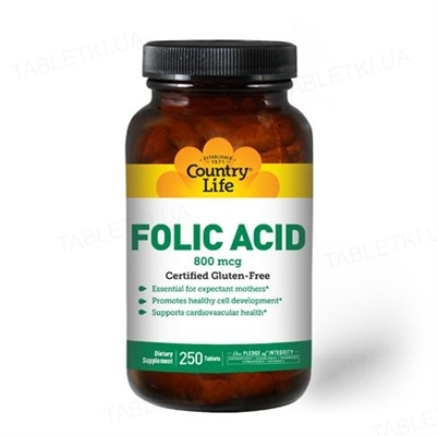 Витамины Country Life Folic Acid (фолиевая кислота) 800 мкг, 250 таблеток