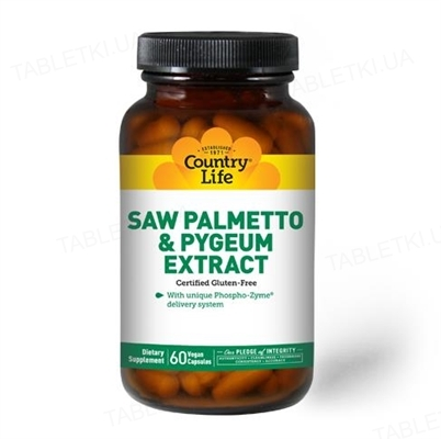 Витаминный комплекс Country Life Saw Palmetto Pygeum Extract (экстракт сереноа и коры африканской сливы), 60 капсул