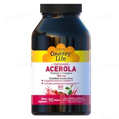 Витамины Country Life Acerola Vitamin C 500 мг, 90 таблеток