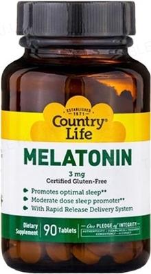 Натуральная добавка Country Life Melatonin 3 мг, 90 таблеток