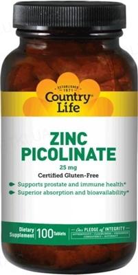 Минералы Country Life Цинка пиколинат 25 мг, 100 таблеток