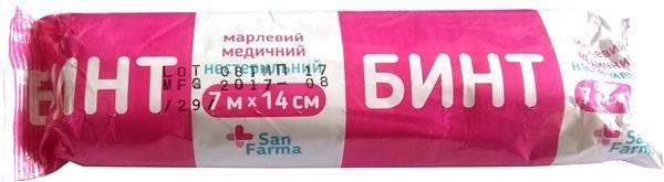Бинт марлевый нестерильный San Farma медицинский 7 м х 14 см