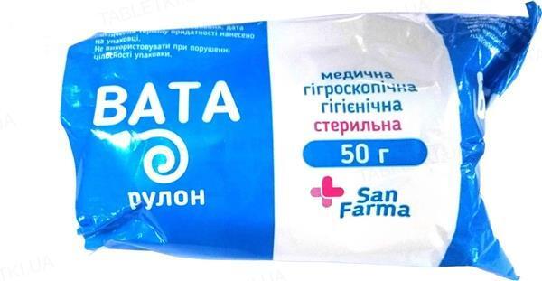 Вата стерильная San Farma медицинская гигиеническая, ролик 50 г