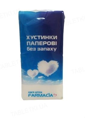 Платочки бумажные Farmacia двухслойные белые №10х10