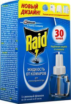 Электрофумигатор от комаров Raid с жидкостью на 30 ночей