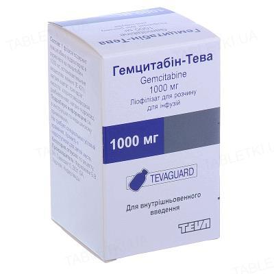 Гемцитабин-Тева лиофилизат для р-ра д/инф. по 1000 мг №1 во флак.
