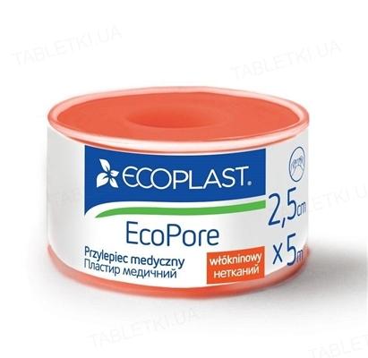Пластырь медицинский Ecoplast EcoPore (ЭкоПор) на нетканой основе 2,5 см x 5 м, в пластик. катушке