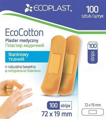 Набор пластырей медицинских Ecoplast EcoCotton (ЭкоКотон) на тканой основе, 72 x 19 мм, 100 штук