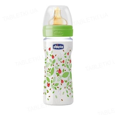 Бутылочка детская пластиковая Chicco Well-Being с соской латексной, средний поток, с 2 месяцев, 250 мл