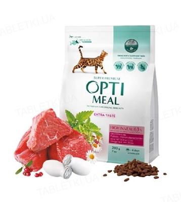 Корм сухой для кошек Optimeal с высоким содержанием телятины, 200 г