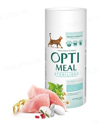 Корм сухой для стерилизованных кошек Optimeal индейка и овес, 650 г