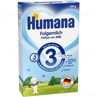 Сухая молочная смесь Humana 3 с пребиотиками для последующего кормления детей с 10 месяцев, 350 г