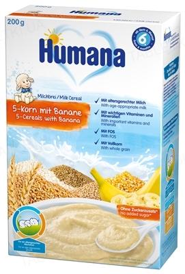Сухая молочная каша Humana 5 злаков с бананом для детей с 6 месяцев, 200 г