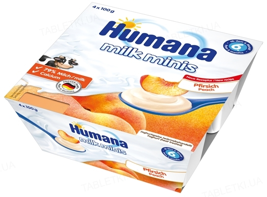 Продукт кисломолочний Humana з персиком для дітей з 6 місяців, 4 х 100 г