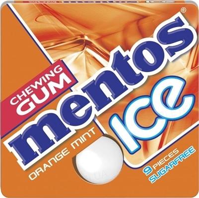 Жевательная резинка Mentos Ice Orange mint без сахара Апельсиновая Мята, 12,9 г