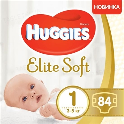 Подгузники детские Huggies Elite Soft, размер 1, 3-5 кг, 84 штуки