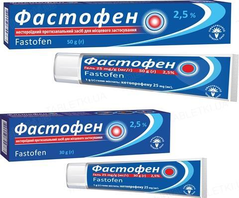 Фастофен гель 25 мг/г по 30 г в тубах