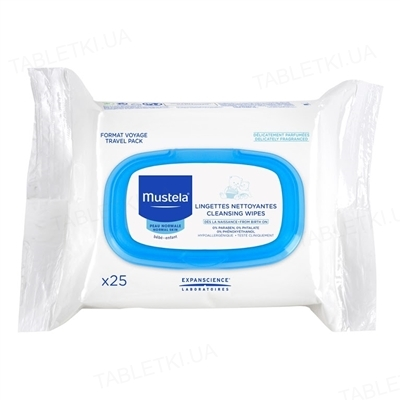 Серветки Mustela, очищуючі  для обличчя, 25 штук