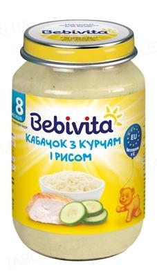 Мясо-овощное пюре Bebivita Кабачок с цыпленком и рисом, 220 г
