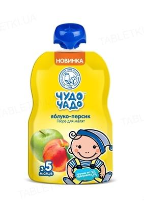 Фруктовое пюре Чудо-Чадо яблочно-персиковое с сахаром, 90 г