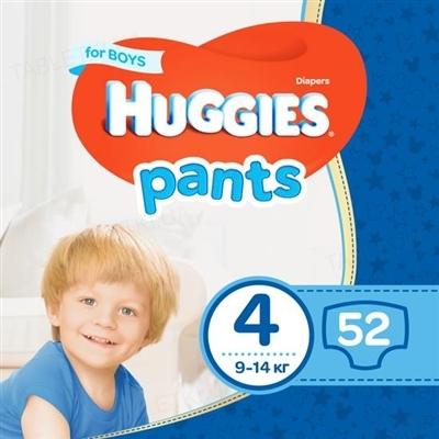 Трусики-подгузники детские Huggies Pants для мальчиков, размер 4, 9-14 кг, 52 штуки