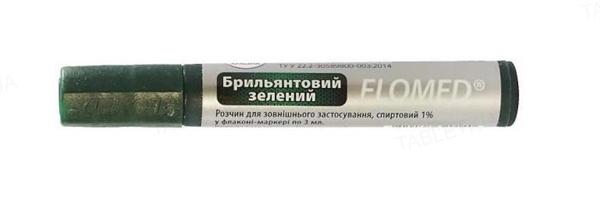 Бриллиантовый зеленый Flomed раствор д/наруж. прим., спирт. 1 % по 3 мл во флак.-маркер