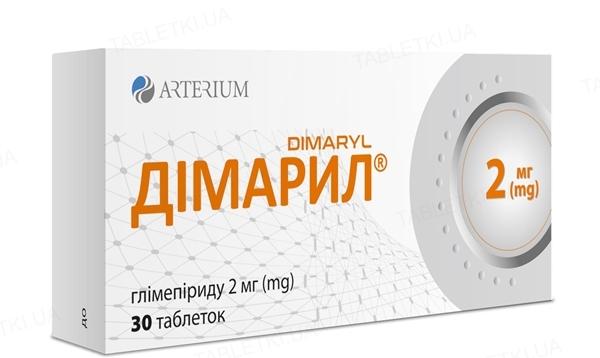 Димарил таблетки по 2 мг №30 (10х3)
