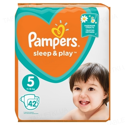 Подгузники детские Pampers Sleep & Play размер 5, 11-16 кг, 42 штуки
