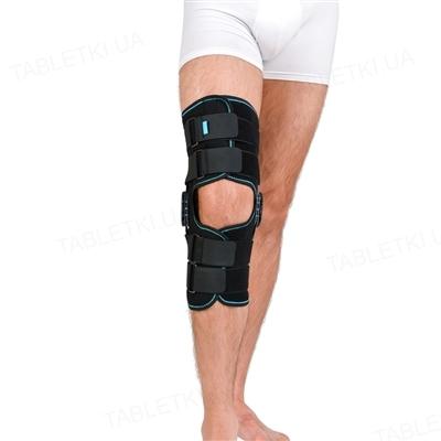 Ортез на коленный сустав Алком 4032 неопреновый, шарнирный, с регуляцией угла сгибания, закрытый, цвет черный, размер 6