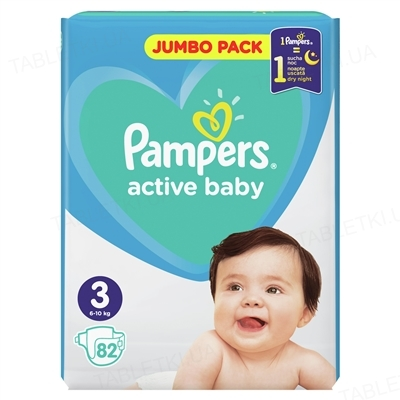Підгузки дитячі Pampers Active Baby розмір 3, 6-10 кг, 82 штуки
