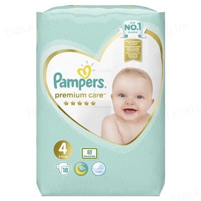 Подгузники детские Pampers Premium Care размер 4, 9-14 кг,18 штук