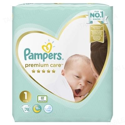 Підгузки дитячі Pampers Premium Care розмір 1, 2-5 кг, 78 штук