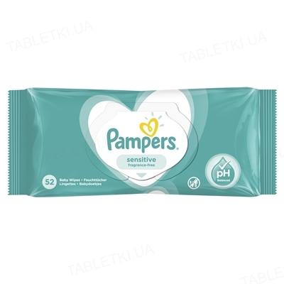 Салфетки влажные детские Pampers Sensitive 52 штуки