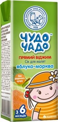 Сок фруктово-овощной Чудо-Чадо яблочно-морковный неосветленный стерилизированный, 200 мл