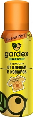 Аэрозоль на детскую одежду Gardex Baby от комаров и клещей. 100 мл