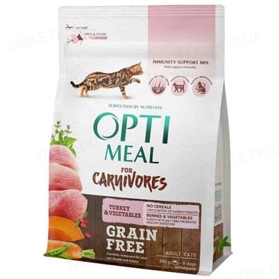 Корм сухой беззерновой для кошек Optimeal индейка и овощи, 300 г