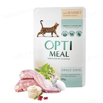 Консерва для котів Optimeal з кроликом в білому соусі, 85 г