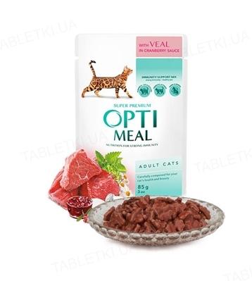 Консерва для котів Optimeal з телятиною в журавлинному соусі, 85 г