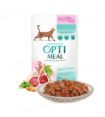 Консерва для котів Optimeal з ягням і овочами в желе, 85 г