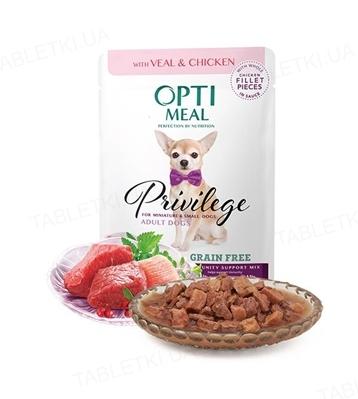 Консерва беззерновая для собак Optimeal миниатюрных и малых пород с телятиной и куриным филе в соусе, 85 г
