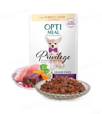 Консерва беззерновая для собак Optimeal миниатюрных и малых пород с индейкой и печенью в тыквенном желе, 85 г