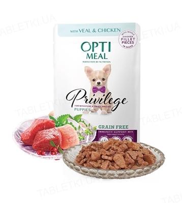 Консерва беззерновая для щенков Optimeal миниатюрных и малых пород с телятиной и куриным филе в соусе, 85 г
