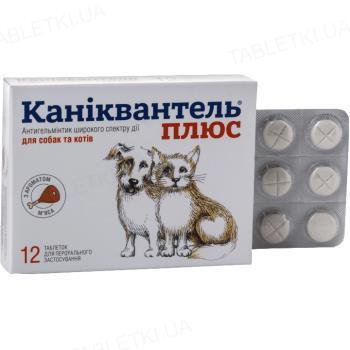Каніквантел Плюс антигельмінтик для кішок і собак з ароматом м'яса, 1 таблетка