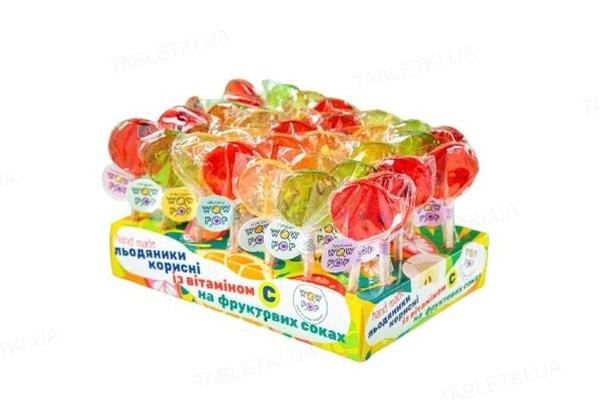 Леденцы WOW POP с витамином С и фруктовым соком, 17 г, 1 штука