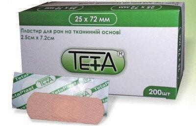 Пластырь бактерицидный Teta на тканевой основе 2,5 см х 7,2 см, 1 штука