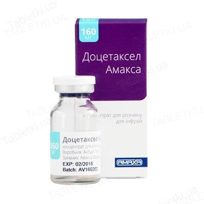Доцетаксел Амакса концентрат для р-ра д/инф. 20 мг/мл по 8 мл №1 во флак.